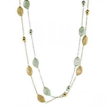 Cool Rose and White Gold textured beaded chains-wear together or separate