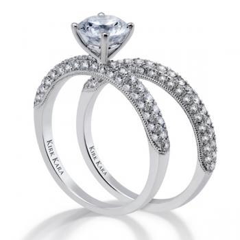 Diamond engagement ring with matching band