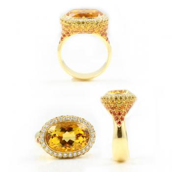 Gorgeous, striking and awesome Citrine, Diamond, Yellow and Orange Sapphire ring set in 18K Gold-sure to make a statement