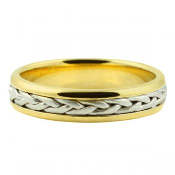 Elegant two-tone hand-made braid man's wedding band