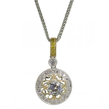 Magically unique Diamond pendant with fancy Yellow Diamonds in the bail