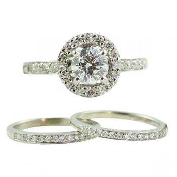 Gorgeous Diamond and White Gold engagement ring set-AGS certification, G/SI Ideal cut