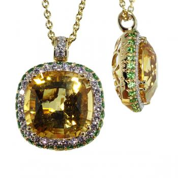 Gorgeous Citrine and Diamond pendant necklace with intense green Tsavorites along the sides