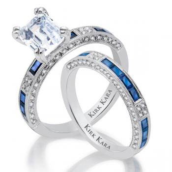 Diamond and sapphire engagement ring with matching band