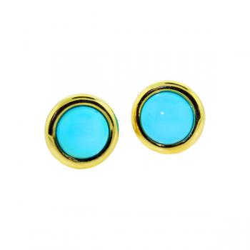 Classically captivating Yellow Gold and Turquoise button earrings