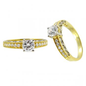 Charming two tone 4-prong Diamond engagement ring with milgrain edges
