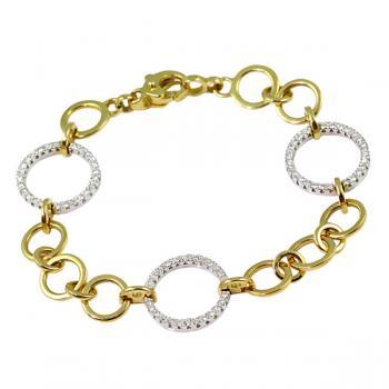 Fashionable circle-link Diamond and Gold bracelet