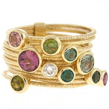 14K GOLD AND GEMSTONE RING STACK