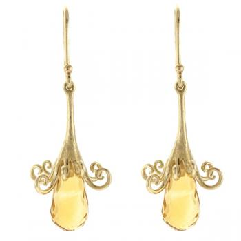14K GOLD CITRINE BRIOLETTE EARRINGS