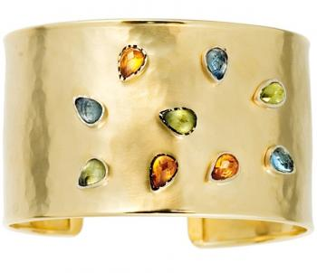14K GOLD HAMMERED CUFF WITH GEMS
