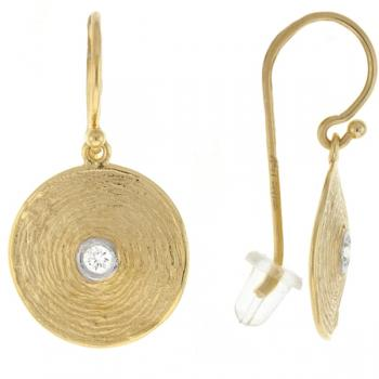 14K TEXTURED GOLD EARRINGS WITH DIAMONDS