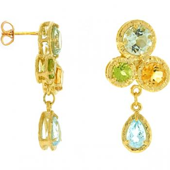 14K YELLOW GOLD AND MULTIPLE STONE EARRINGS