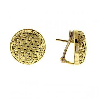 14K YELLOW GOLD BASKET WEAVE EARRINGS