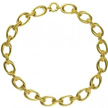 14K YELLOW GOLD DOUBLE LINKS NECKLACE