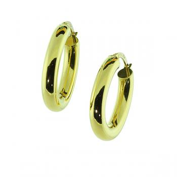 Popular polished 19mm Yellow Gold hoop earrings