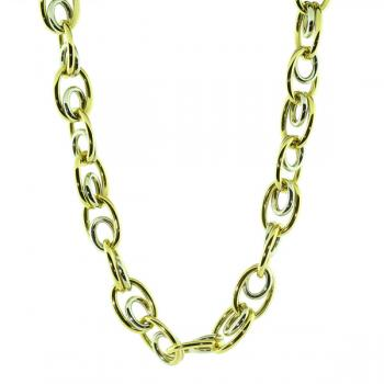 "Charming 17"" Yellow and White Gold circle link necklace"