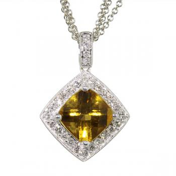 Delicious briolette Citrine and Diamond pendant with a multi-strand white gold chain