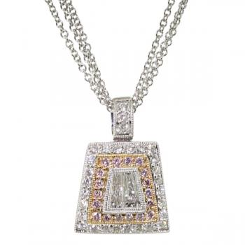 Beautiful Diamond pendant set in white and rose gold accented with Fancy Pink and White Diamonds