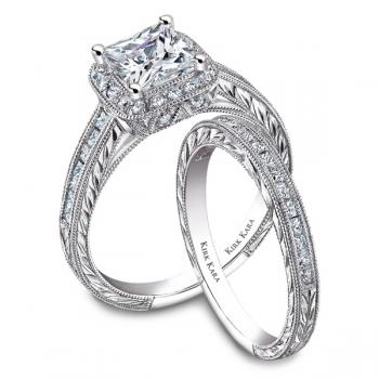 Diamond hand engraved engagement ring with matching band as seen in national advertisements.