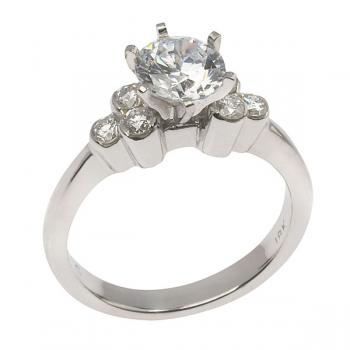 Classic Diamond and White Gold engagement ring with a brilliant-cut center Diamond with three small round Diamonds on each side