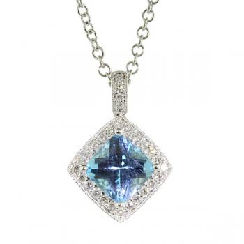 Delicately shimmering sky Blue Topaz and Diamond pendant