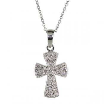 Graceful Diamond cross pendant necklace set in white gold