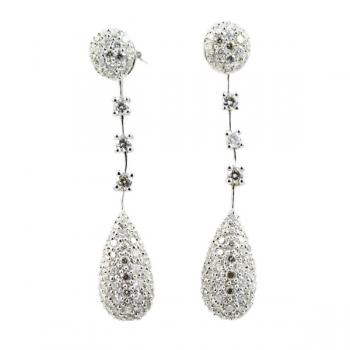 Beautiful pave Diamond drop earrings set in White Gold