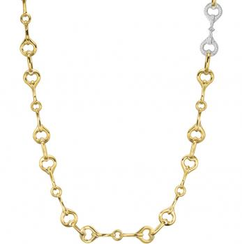 18KT YELLOW GOLD WITH WHITE DIAMONDS NECKLACE
