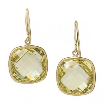 18K FACETED LEMON QUARTZ EARRINGS