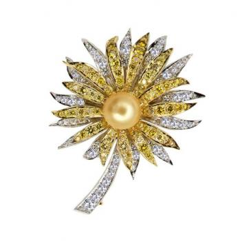 18K GOLD, PEARL AND DIAMOND PIN