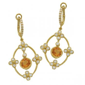 18K GOLD DIAMOND AND CITRINE EARRINGS