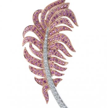 18K GOLD PINK SAPPHIRE AND DIAMOND FEATHER BROOCH