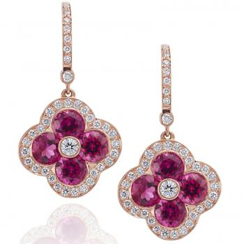18K PINK GOLD, DIAMOND AND RUBELITE EARRINGS