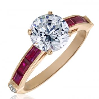 18K PINK GOLD AND RUBY DIAMOND ENGAGEMENT RING