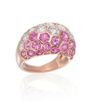 18K PINK GOLD DIAMOND AND PINK SAPPHIRE RING