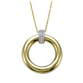 18K Polished Gold Circle and Diamond Pendant