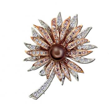 18K ROSE GOLD, PLATINUM, PEARL AND DIAMOND PIN