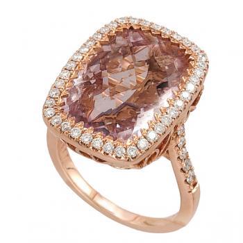 18K ROSE GOLD, ROSE AMETHYST & DIAMOND RING