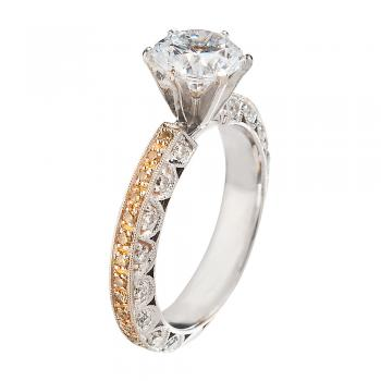 18K WHITE AND YELLOW GOLD AND DIAMONDS ENGAGEMENT RING