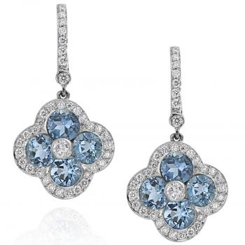 18K WHITE GOLD, DIAMOND AND AQUAMARINE DROP EARRINGS