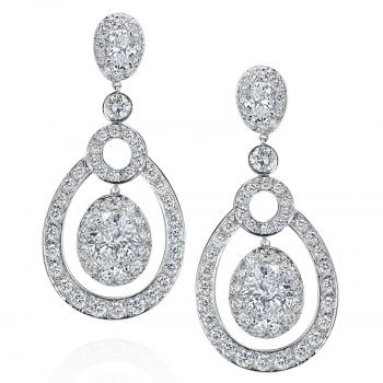 18K WHITE GOLD AND DIAMOND DROP EARRINGS