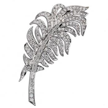 18K WHITE GOLD AND DIAMOND FEATHER PIN