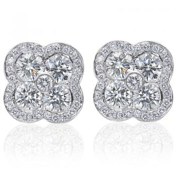 18K WHITE GOLD AND DIAMOND FLEUR EARRINGS