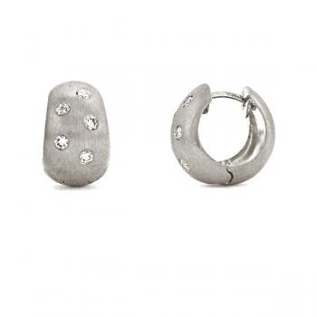 18K WHITE GOLD AND DIAMOND HUGGIE EARRINGS