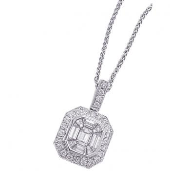 18K WHITE GOLD AND DIAMOND PENDANT NECKLACE