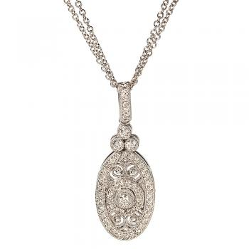 18K WHITE GOLD AND DIAMOND VINTAGE LOOK NECKLACE