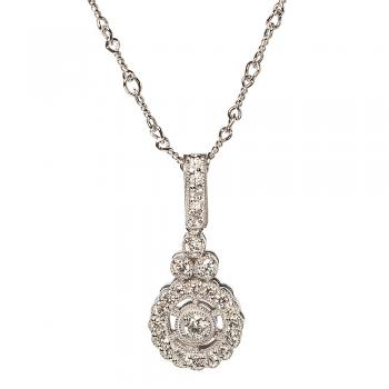 18K WHITE GOLD AND DIAMOND VINTAGE STYLE NECKLACE