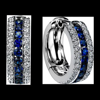 18K WHITE GOLD AND SAPPHIRE EARRINGS
