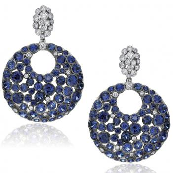18K WHITE GOLD BLUE SAPPHIRE AND DIAMOND EARRINGS
