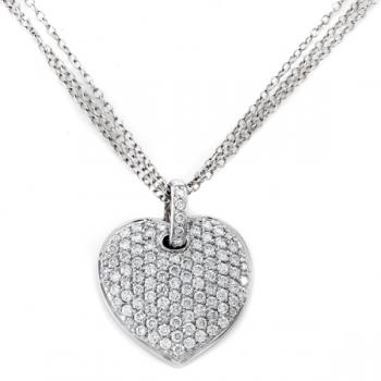 18K WHITE GOLD DIAMOND HEART PENDANT NECKLACE